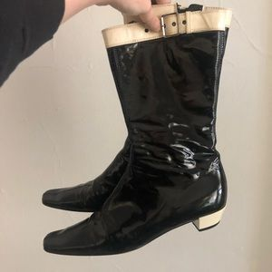 Gucci Black Patent Leather mid-rise boots